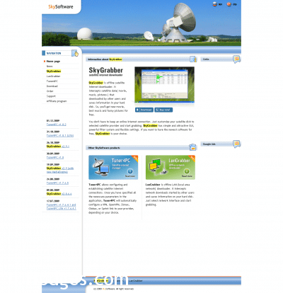 Frontpage of the SkyGrabber.com site (cache)