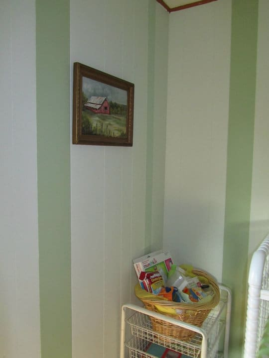 Paint Over Wood Paneling Walls: Painted Stripes On 70's Wood Paneling