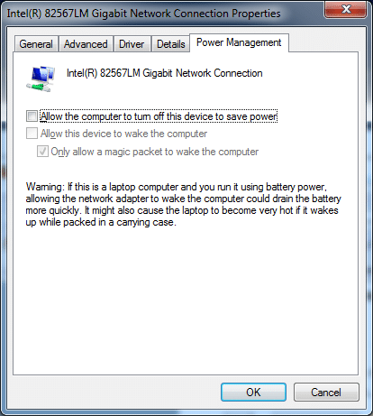 Screenshot of Windows 7 power management pane for Ethernet controller