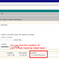 VMWare Server 2 location of the VM VMX screenshot photo