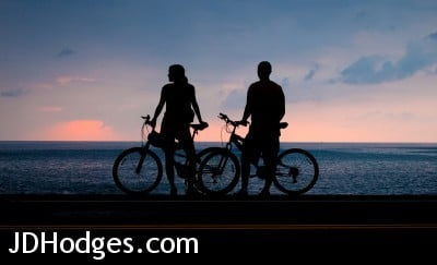 Hawaii Bicycle Silhouette Sunset - OLYMPUS DIGITAL CAMERA