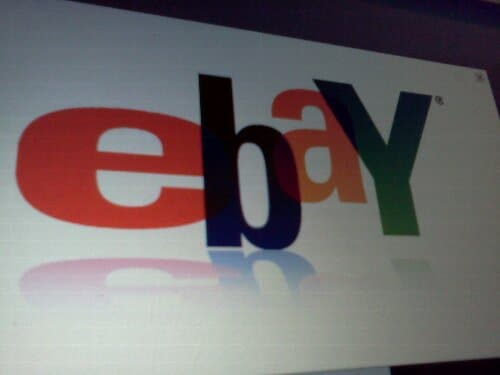 Cameraphone photo of eBay logo