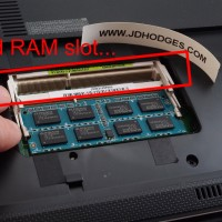 The 2nd RAM slot is highlighted in red, when two sticks are installed they are partially 'stacked' on top of each other
