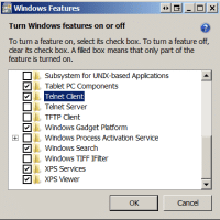 Turn Windows 7 Telnet on (enable the feature)