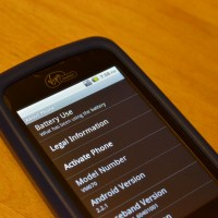 Virgin Mobile Android Smartphone Settings / Battery Screen