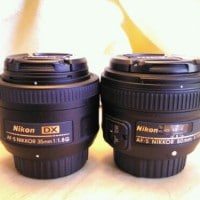 35mm Nikon DX Lens size comparison vs 50mm Nikon DX lens