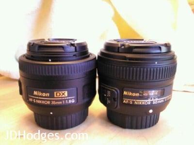 Lens 35mm vs 50mm 35mm Nikon dx Lens Left Size