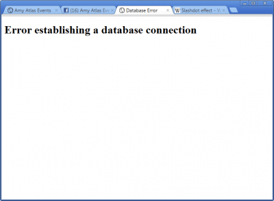 The error message displayed because the database servers could not handle the load