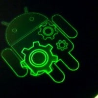 Cool green Google Android logo shown during ICS update!