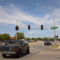 Traffic lights out near Target