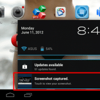 Notification showing that a screenshot has been captured
