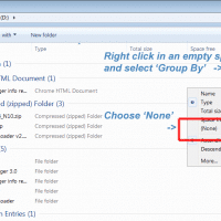 Screenshot showing how to remove the Grouping from a Windows 7 explorer window