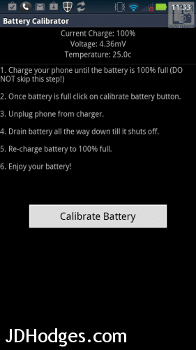Press the Calibrate Battery button to wipe your Android battery stats and calibrate for your new extended battery