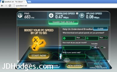 Exede VPN speedtest results