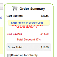 Here is the checkout screenshot showing the savings (47%!) using coupon code GDBBA547