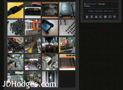 Screenshot of Pebble's imgur gallery showing manufacturing photos