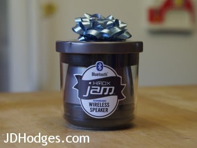 Front view of the fun 'jam' packaging