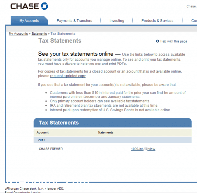 Choose the tax statement you would like to download in electronic format (PDF)