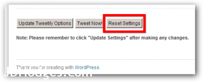 Reset Settings can be found at the bottom of the Tweetily settings page