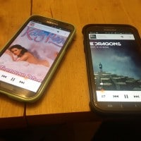 Two phones streaming audio at the same time using Exede satellite internet