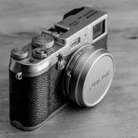 B&W photo of the Fuji X100, taken with Nikon D7000., processed in Lightroom 5.3