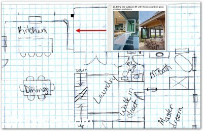 Hand drawn house plan showing inspiration for deck serving area feature