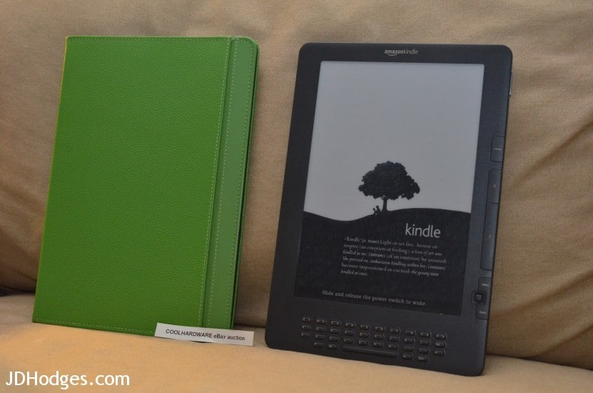 Kindle DX and green leather cover
