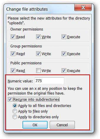 Updating folder permissions via FileZilla FTP client