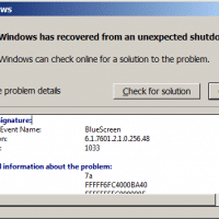 Windows BSOD (Blue Screen of Death) notice