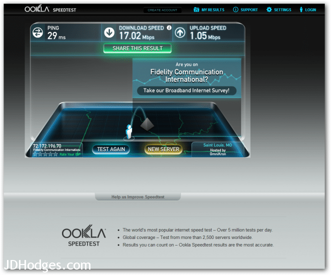 Very nice free wifi speeds in Salem MO