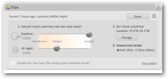 Screenshot of the f.lux settings screen