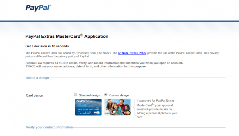 The signup application for the PayPal Extras MasterCard