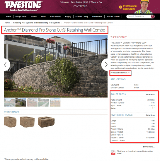 Specs for Diamond Pro Stone Cut Retaining Wall Combo Pavestone