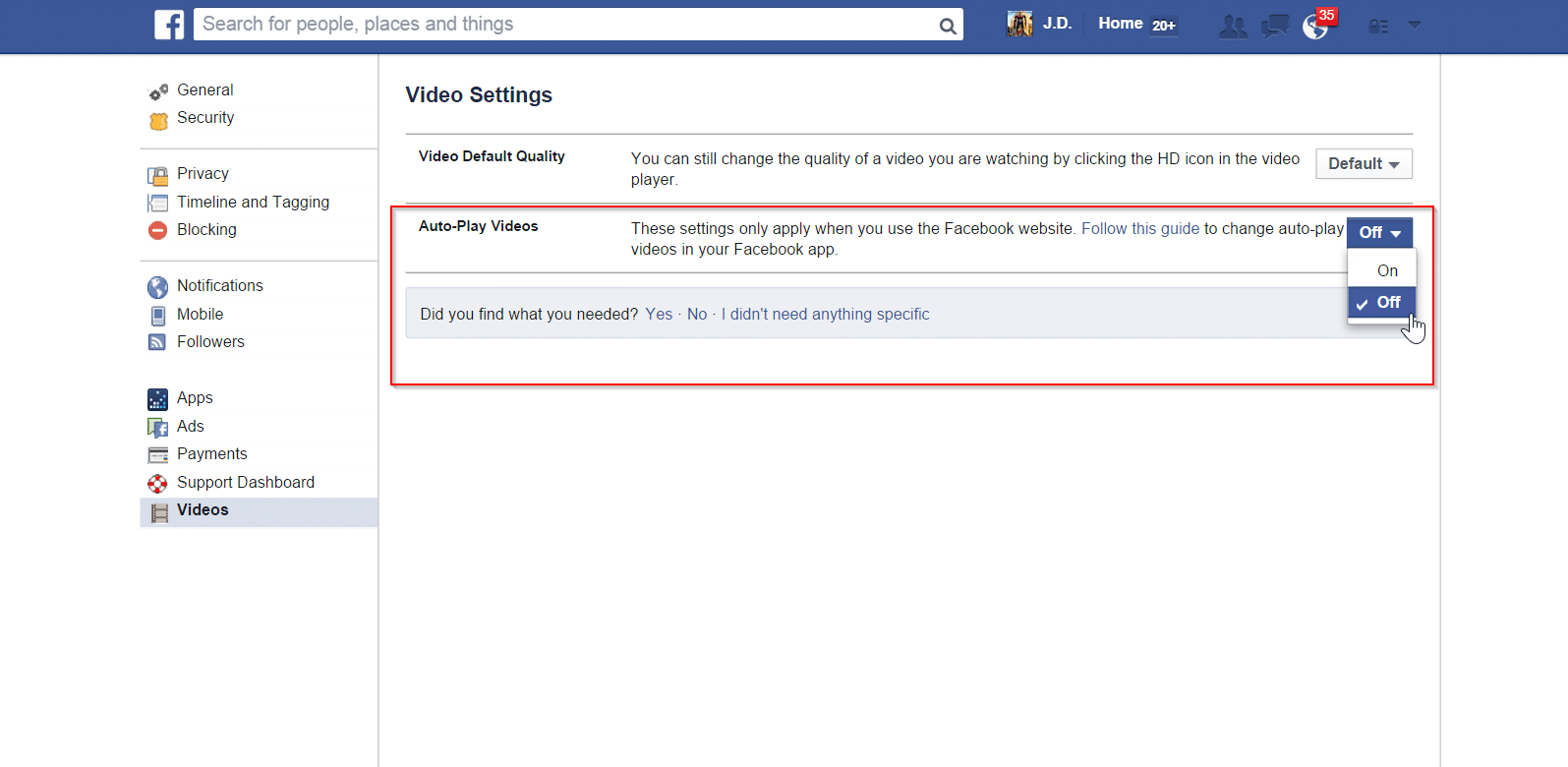 10 19 21 29 16 35 video settings facebook turn auto play videos off