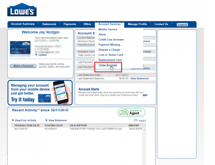 CLOSE Lowe's credit card account [SOLVED]
