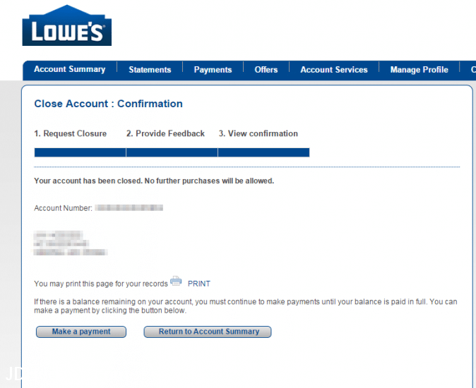 Success, account closed confirmation!