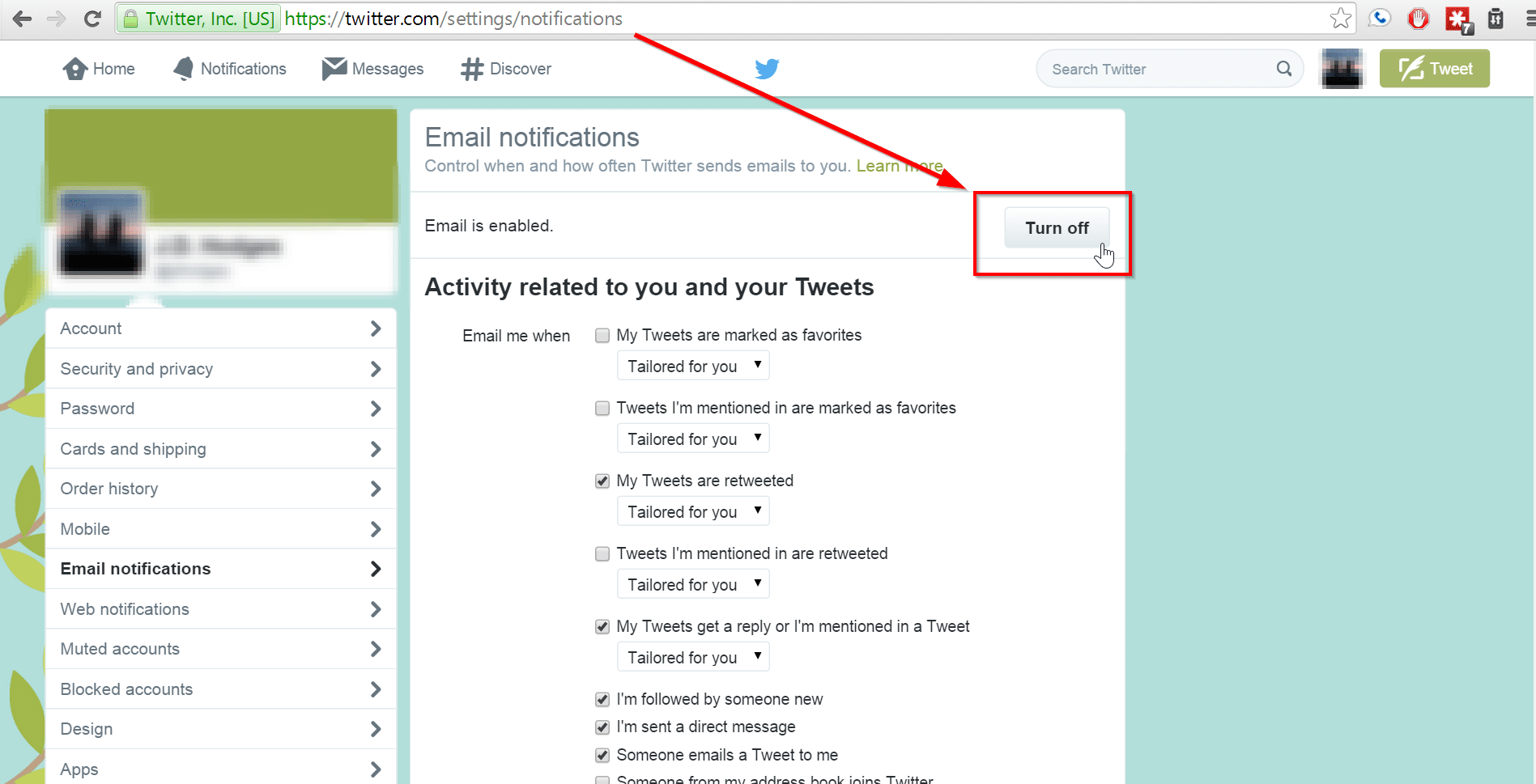 how to find account settings on twitter