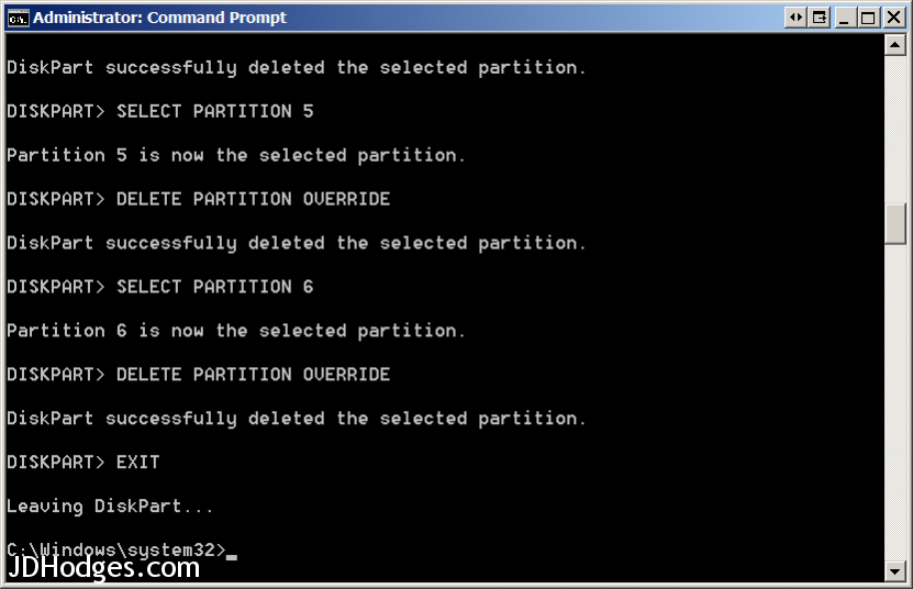 DISKPART commands to delete recovery partitions in Windows 8.1