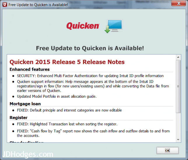 Update Quicken 2015 to R5 for taxes