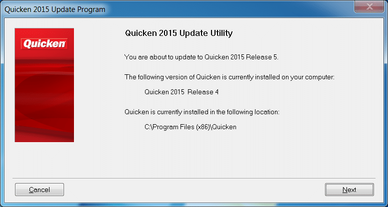 Quicken 2015 Update Utility