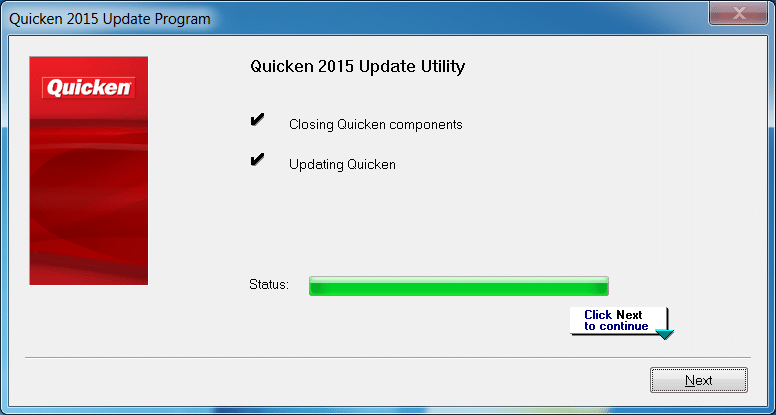Quicken 2015 R5 update progress
