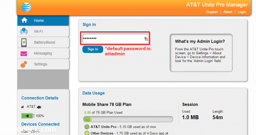 ATT Unite Pro hotspot login password