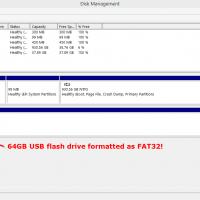 64GB USB flashdrive formatted at FAT32