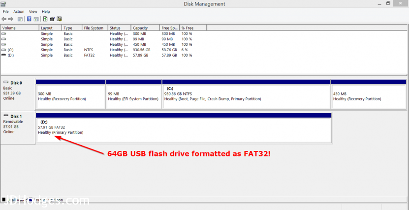 64GB USB flashdrive formatted at FAT32