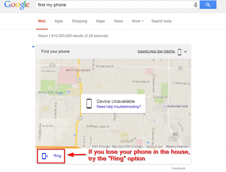 Google Find My Phone results
