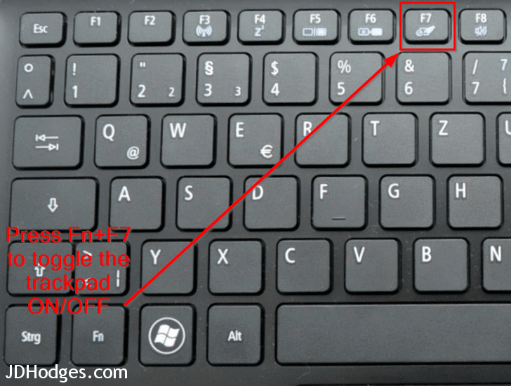 Press the Fn key combination to disable the trackpad