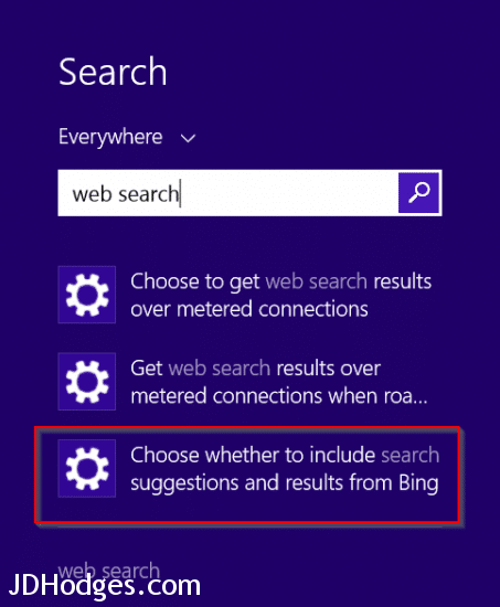 Choose whether to include search suggestions and results from Bing