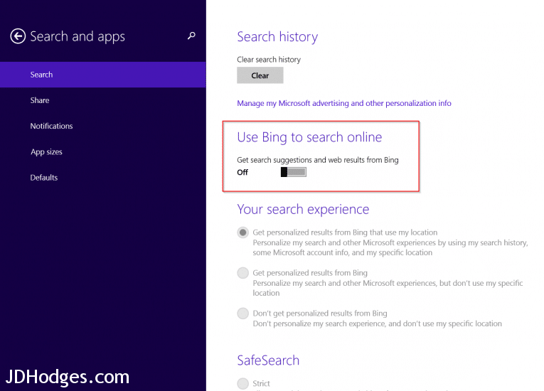 Disable Bing search results