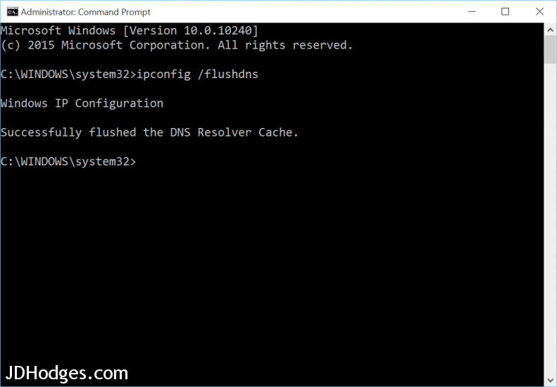 Successfully flushed the DNS Resolver Cache