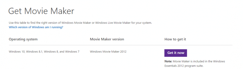 Movie Maker compatibility list for various Windows versions